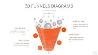 橘红色3D漏斗PPT信息图表8