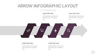 深紫色箭头PPT信息图表11