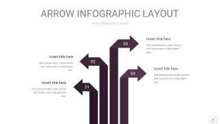 深紫色箭头PPT信息图表3