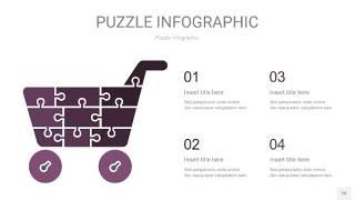 深紫色拼图PPT图表16