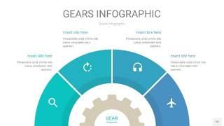 蓝绿色齿轮PPT信息图10