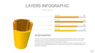 黄色3D分层PPT信息图53