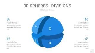 渐变蓝色3D球体切割PPT信息图8