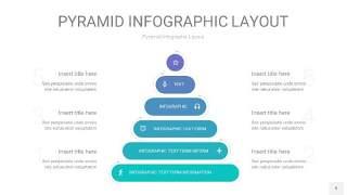 天蓝绿3D金字塔PPT信息图表9
