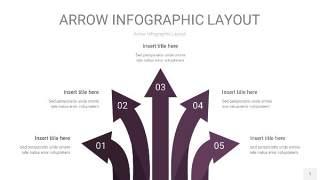 深紫色箭头PPT信息图表1