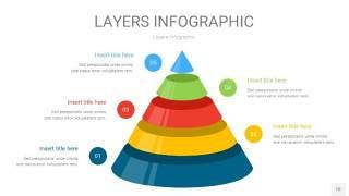 四色3D分层PPT信息图10