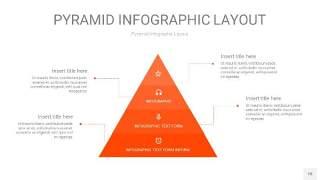 橘红色3D金字塔PPT信息图表18