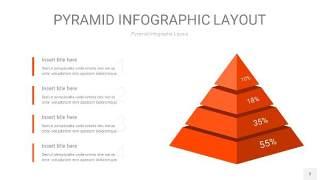 橘红色3D金字塔PPT信息图表3