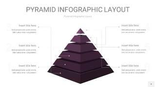 深紫色3D金字塔PPT信息图表4