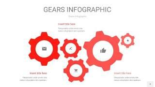 红色齿轮PPT信息图4