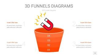 橘红色3D漏斗PPT信息图表14