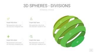 渐变绿色3D球体切割PPT信息图7