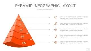 橘红色3D金字塔PPT信息图表6