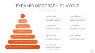 橘红色3D金字塔PPT信息图表10