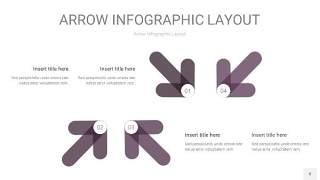 深紫色箭头PPT信息图表8