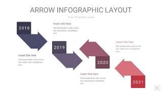 中紫色箭头PPT信息图表6