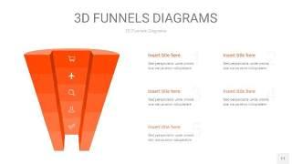 橘红色3D漏斗PPT信息图表11