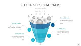 宝石蓝3D漏斗PPT信息图表8