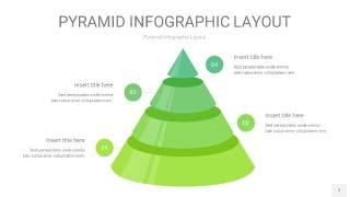 浅绿色3D金字塔PPT信息图表7