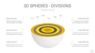 灰黄色3D球体切割PPT信息图3