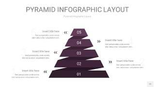 深紫色3D金字塔PPT信息图表12