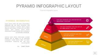 红黄色3D金字塔PPT信息图表22