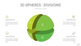 渐变绿色3D球体切割PPT信息图8