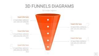 橘红色3D漏斗PPT信息图表5