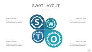 铁蓝色SWOT图表PPT11