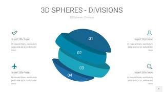 青色3D球体切割PPT信息图9