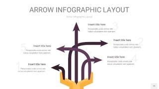 深紫色箭头PPT信息图表15
