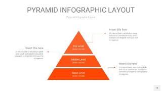 橘红色3D金字塔PPT信息图表14