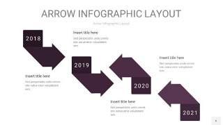 深紫色箭头PPT信息图表6