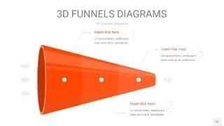 橘红色3D漏斗PPT信息图表10