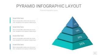 天蓝绿3D金字塔PPT信息图表3