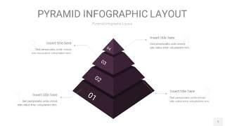 深紫色3D金字塔PPT信息图表1