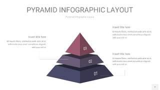 中紫色3D金字塔PPT信息图表2