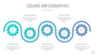 蓝绿色齿轮PPT信息图17