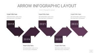 深紫色箭头PPT信息图表7