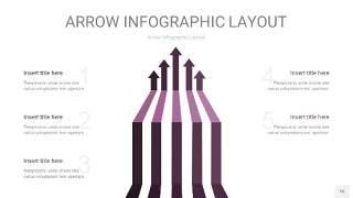 深紫色箭头PPT信息图表16