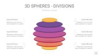 渐变紫黄色3D球体切割PPT信息图10