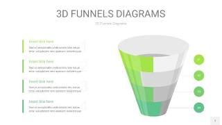 草绿色3D漏斗PPT信息图表7
