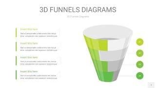 浅绿色3D漏斗PPT信息图表7