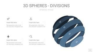 莫兰迪蓝色3D球体切割PPT信息图7