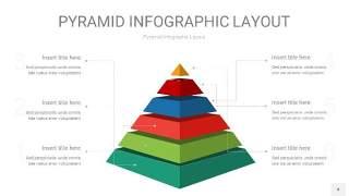 红绿色3D金字塔PPT信息图表4
