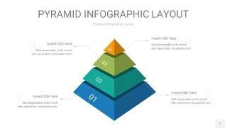 黄蓝绿色3D金字塔PPT信息图表1