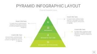 草绿色3D金字塔PPT信息图表18