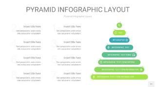 浅绿色3D金字塔PPT信息图表11
