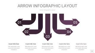 深紫色箭头PPT信息图表4