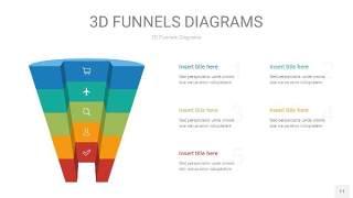 彩色3D漏斗PPT信息图表11
